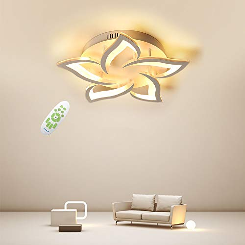 Creativa LED Lámpara de Techo, Moderna Pétalo LED Luz de Techo, 24W 2400lm, Regulable 3000K - 6000K, Panel de Acrílico Luces de Techo de la Sala de Estar, Dormitorio Φ58 [Clase energética A ++]