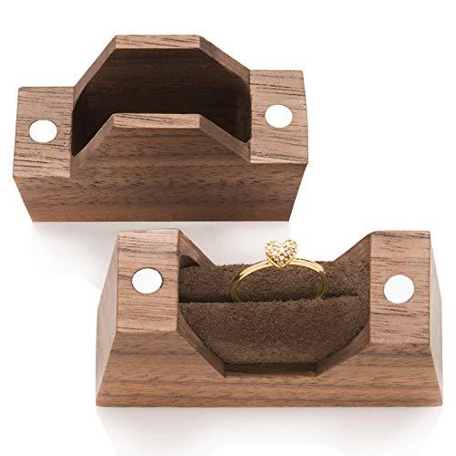 Caja de madera para anillo de compromiso, pequeña caja hecha a mano