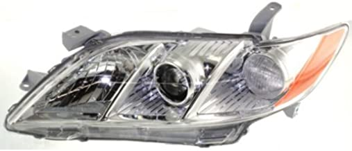 Headlight Headlamp Compatible with 2007-2009 Toyota Camry Chrome Housing Amber Reflctor Clear Lens Driver Left Side Replacement