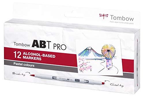 Tombow ABTP-12P-2 Alkoholbasierter Marker ABT PRO zwei Spitzen Pastel Colors