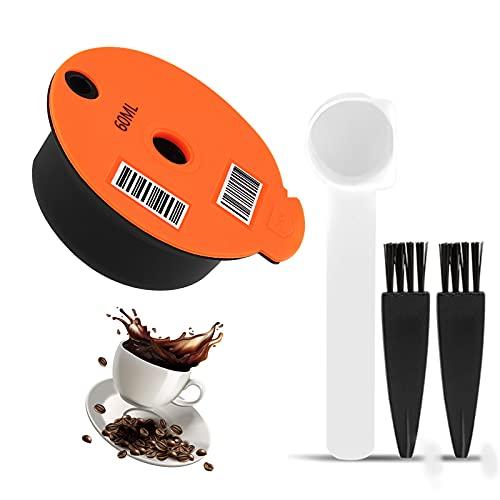 Cápsulas de café rellenables, 60/180 ml, rellenables, de plástico, para Bosch Tassimo, con tapa de silicona, código de barras legible (60 ml)