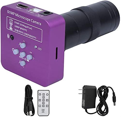 HD 51MP 2K 1080P Cámara de microscopio Industrial USB HDMI, 8x-130x Zoom C-Mount Lens 5100 CMOS Pixel Electronic Digital Cámara de Video con Control Remoto