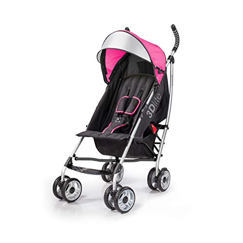 Summer 3Dlite Convenience Stroller, Pink – Lightweight Stroller with Aluminum Frame, Large Seat Area, 4 Position Recline, Extra Large Storage Basket – Infant Stroller for Travel and More