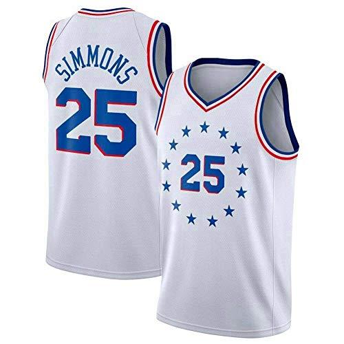 Jerseys De Hombre, Philadelphia 76Ers # 25 Ben Simmons - Uniformes De Baloncesto De La NBA Camisetas Deportivas Sin Mangas Clásicas Y Camisetas Cómodas Chalecas,Blanco,M(170~175CM)