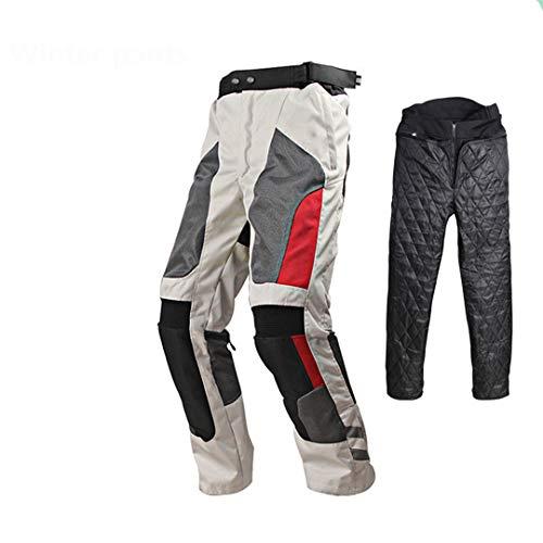 Chaqueta de Motocicleta Pantalones Hombres Moto Motor Pantalones de Abrigo Reflectante Set de Verano Empresa Impermeable Invierno Cálido Ropa Protectora Winter Pants- White M