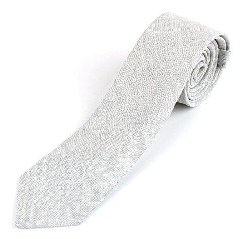 Men's Cotton Linen Skinny Necktie Tie Sand Wash Solor Color Pattern