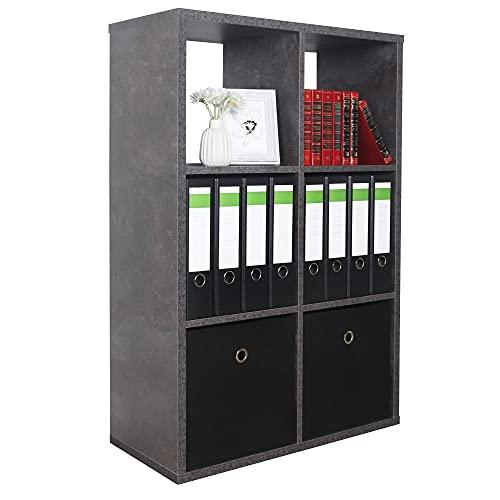 RICOO WM079-BG Estantería 107 x 73 x 33 cm Estante Librería Moderna Biblioteca Muebles de hogar Mueble almacenaje 3 Niveles Color Madera Gris