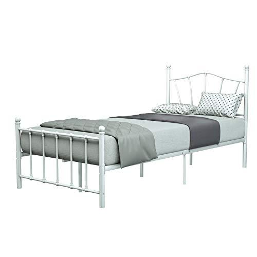 mecor Metallbett 90x200 Bettgestell Bettrahmen mit Lattenrost Gästebett Einzelbett Bettrahmen Jugendbett mit geschwungenes Kopfteil Design, Bett In weiß