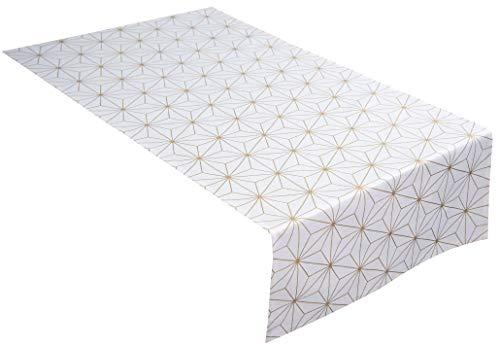 Tom Tailor T CHRYSTALS tafelloper, stof, wit/goud, 50 x 150 cm