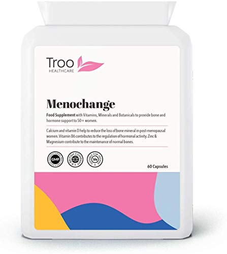 MENOChange Women 50+ Bone and Hormone Support 60 Capsules - Botanical Blend with Vitamin D, Zinc and Calcium – Made in UK to GMP Standards