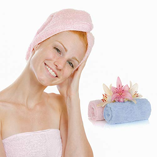 Mikrofaser Haarturban Saugstark mit Knopf 2 Stück, Turban Handtuch für lange und dicke Haare, Badeturban Haartrockentuch für Frauen, L 65 x B 26 cm