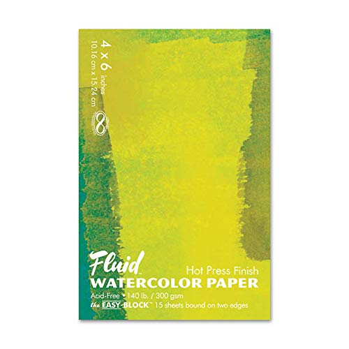 Fluid Watercolor Paper 850046 140LB Hot Press 4 x 6 Block, 15 Sheets