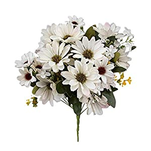 Houchu 1bunch Artificial Dutch Chrysanthemum 21 Heads Silk Daisy Bouquet Fake Plants Sunflower Artificial Flowers Home Wedding Decor(White)