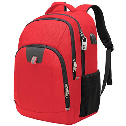 Della Gao Laptop Backpack, Extra Large Computer Rucksack with USB Charging Port and Headphone Hole,Water Resistant Big Business Backpack for Mens and Women Bag Fit 17 Inch Laptops Notebook,Red