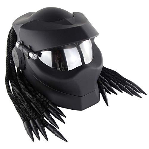 Lang Guang Predator Motorrad Modular flipback Sturzhelme, Motorradsport Helm kühle Dekoration Predators Spotlights,M