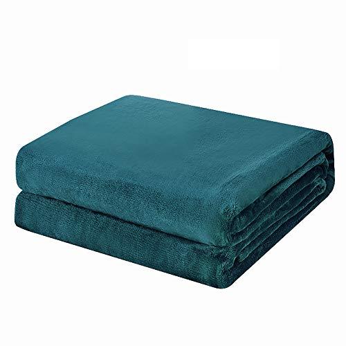 VANSILK Manta de forro polar de franela súper suave, cálida y esponjosa, color liso, para cama y sofá, color turquesa individual, 127 x 152 cm