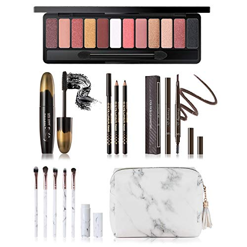 Makeup Kit for Women Full Kit, Includes 12 Colors Naked Eyeshadow Palette, 5 Pcs Makeup Brush Set, Eyebrow Pencil, 2 Color Eyeliner Pencils, Lash Mascara & Cosmetic Bag, Makeup Set for Women & Teens