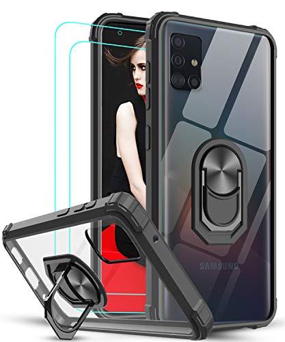 LeYi Funda Samsung Galaxy A51 con [2-Unidades] Cristal Vidrio Templado,Transparente Carcasa con 360 Grados iman Soporte Silicona Bumper Antigolpes Armor Case para Movil A51,Clear Negro