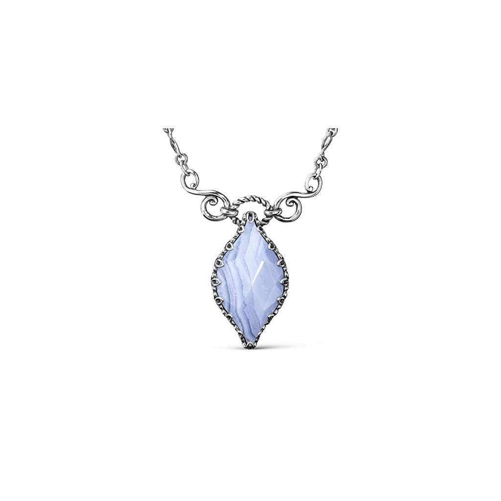 Sterling Silver Blue Lace Agate Gemstone Marquise Pendant Necklace