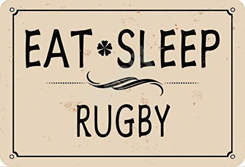 none_branded Eat Sleep Rugby Cartel de Chapa Metal Advertencia Placa de Chapa de Hierro Retro Cartel Vintage para Dormitorio Pared Familiar Aluminio Arte Decoración