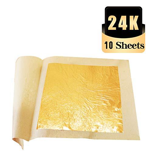 KINNO Blattgold 24 Karat Essbar Goldpapier zum Basteln Lebensmittel Kuchen Backen Torten Dekorfolie Vergolden 8 cm x 8cm