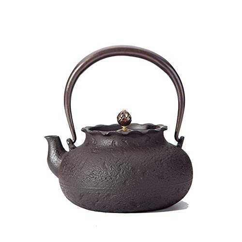 Cast Iron Teapot Iron Tea Set Iron Pot Purse Handmade Iron Teapot 1.2L Iron Cast Teapot Traditional Iron Pot Best Gift (Color : Pig iron, Size : 19x10x11cm)