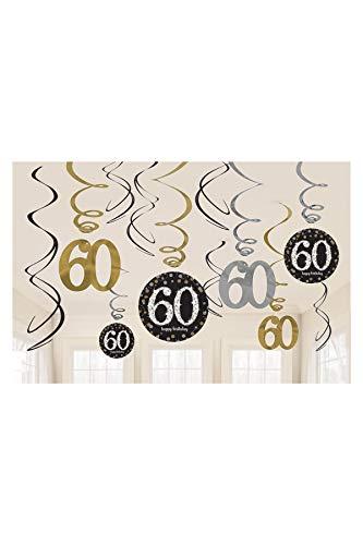 Riesen Girlande 60 Geburtstag PVC Swirl Spiralen Schwarz Gold 12er Dekoset