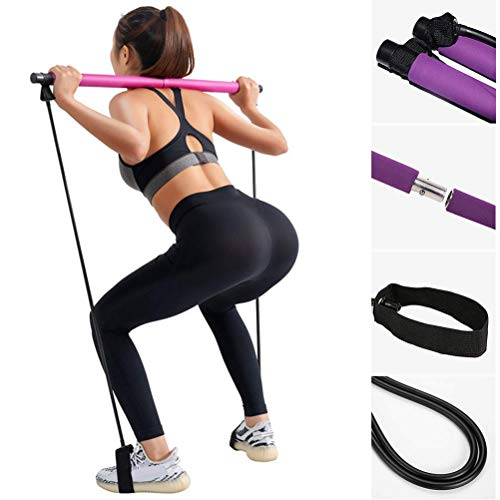 Bestice Tragbares Yoga- und Pilates-Bar-Set mit Widerstandsband, Yoga, Pilates-Stick, Ganzkörper-Workout-Bar, Stretch, Twisting, Sit-Up-Band, SO06180271_PK-1316, Rose