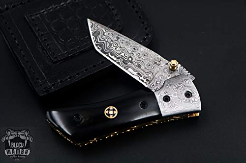 BLACK MAMBA KNIVES Bmk-427 Beetle Damascus Pocket Knife 7.5 Inches Long 3.5 Inches Blade 10 Ounce...