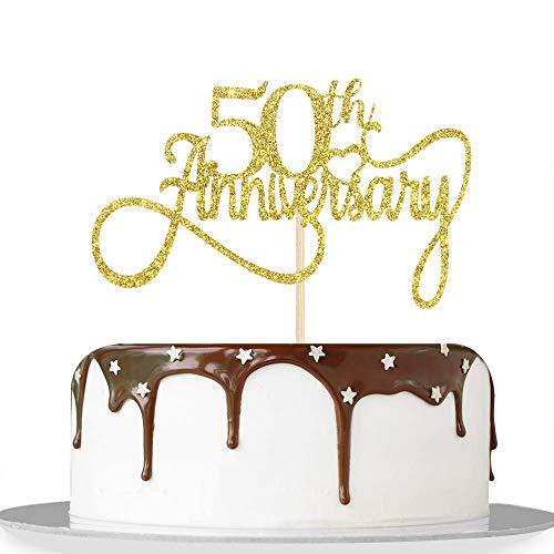 Decoración para tartas de 50 aniversario con purpurina dorada, decoración para tartas de 50 cumpleaños, decoración para fiestas temáticas de 50 aniversario de boda