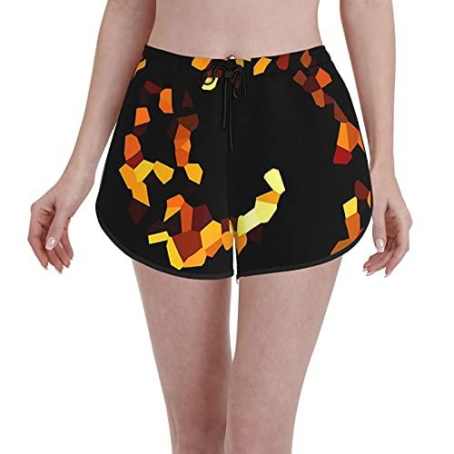 Pantalones cortos de tabla con patrón geométrico estilo origami con degradado traje de baño de mujer novedad trajes de baño verano secado rápido elástico con cordón