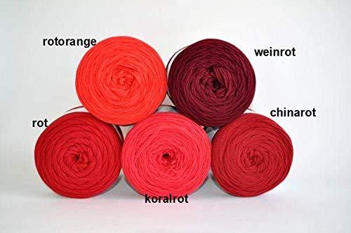 Textilgarn Baumwollegarn Stoffgarn Rosa Rot für Taschen, Körbe, Utensilo, Teppiche (chinarot)