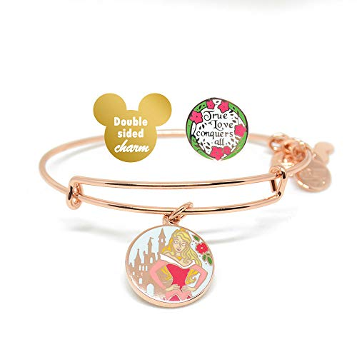 Alex and ANI Disney Parks Princess Aurora True Love Conquers All - Double Sided Charm Bangle - Inspirational Quote - Charm Bracelet Jewelry Gift (Rose Gold Finish)