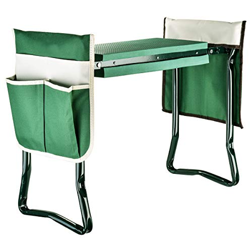 Garden Kneeler And Seat With 2 Bonus Tool Pouches  Portable Garden Bench EVA Foam Pad With Kneeling Pad for Gardening  Sturdy Lightweight And Practical  Protect Knees And Clothes When Gardening