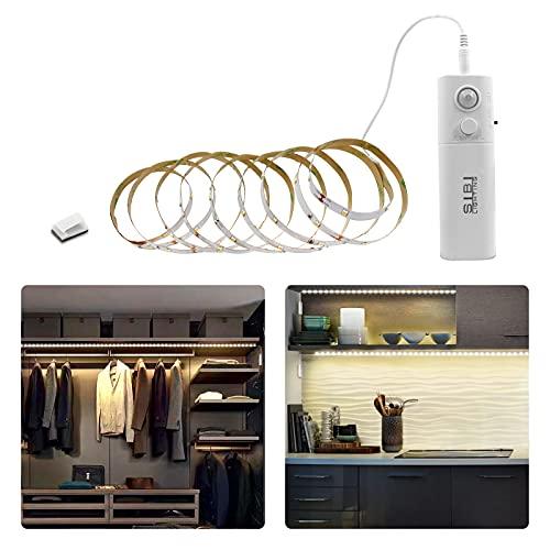 SIBI 2m LED Band mit Bewegungsmelder, Wiederaufladbar Kleiderschrank Beleuchtung, Schranklicht Normales Weißes 4000K, Überall Aufkleben Strip für Schlafzimmer, Treppe, Schrank Beleuchtung, 1 Pack