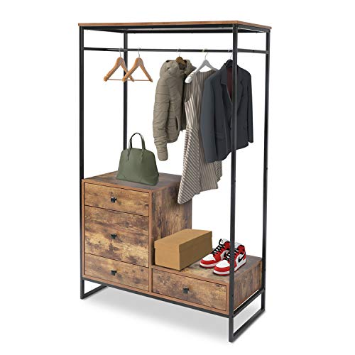 Free Standing Closet Organizer Heavy Duty Garment Rack with 4 drawers ,Extra Large Entryway Hall Tree with Shoe Storage Wardrobe Clothes Garment Rack