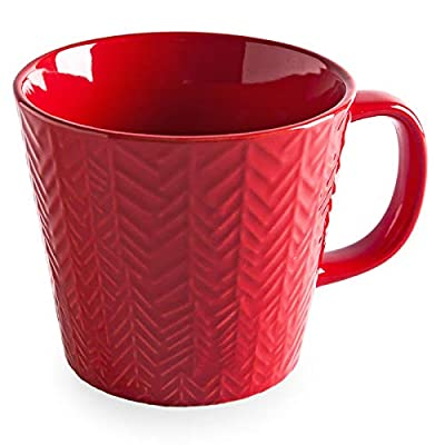 Bonceram Large Stoneware Coffee Mug - 18 Ounce Big Size Ceramic Glossy Mug with Handle, Perfect for Americano, Latte, Tea, Dishwasher Safe, Pure Color with Embossed Leaves, M21104, Red