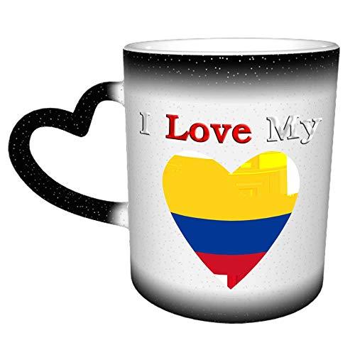 Amo mi mapa de Colombia con bandera, novedad, café, té, taza de cerámica, taza de trabajo de oficina, regalo, 11 oz