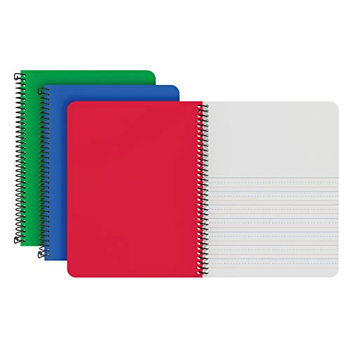 Oxford Primary Spiral Notebooks, Durable Plastic Covers, Writing/Drawing Practice, Pre-K, K-2, 80 Sheets, 9 3/4 x 7 1/2, Blue/Red/Green, 3/PK (89001)