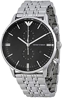 Emporio Armani Men's Black Dial Stainless Steel Band Watch - AR0389