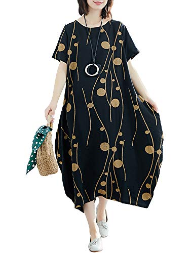 Romacci Women Vintage Maxi Sleeveless Loose Swing Tank Tunic Dress Long Beach Party Dresses Black