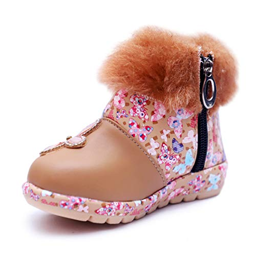BOOMER CUBS Kids Girls Lovely Floral Pattern Shoes (3.5 Years, Caramel, 3_Point_5_Years)