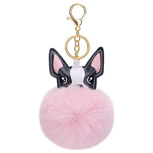 Soleebee Soft Artificial Rabbit Fur Keychain Cute Keychain Animal Pom Pom Keyring Holder Bag Charm for Women Girls (French Bulldog-Pink)
