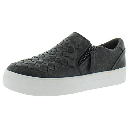 Not Rated Tiffani Sneaker with Dual Zippers and Woven Upper Detail, Charcoal, Size 10