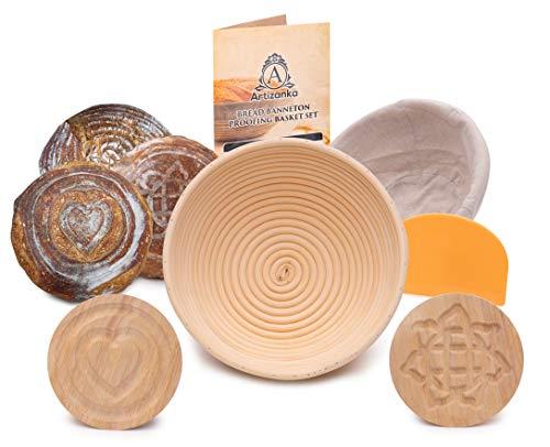 Artizanka Bread Proofing Basket - Sourdough Starter Kit include 9 inch Baking Bowl, 2 Removable Wooden Base Patterns, Dough Scraper, Cloth Liner - Starter Jar Proofing Box Gift for Bakers