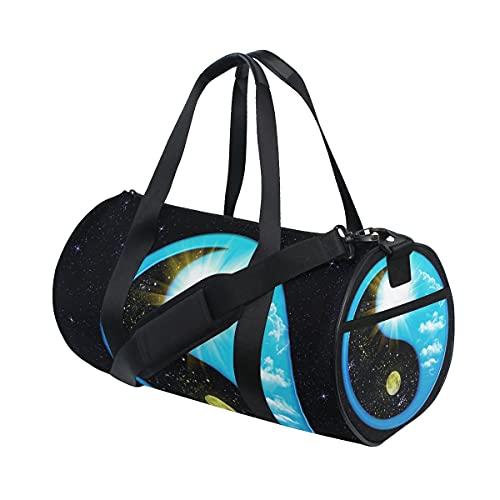 Yin Yang Ba Gua Tai Ji Space Galaxy Twinkle Sports Gym Bag per donne e uomini Viaggio Duffel BagSport Duffels Halloween Natale Regalo