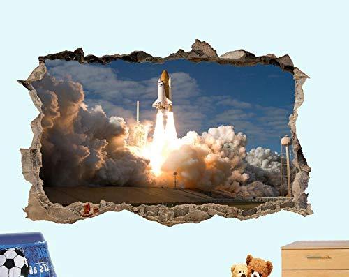 MXLYR Wandtattoo Space Launch Rocket 3D Wandaufkleber Raumdekoration Aufkleber Wandbild