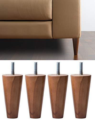IPEA - Juego de 4 Patas de Madera en Cono para sofás y Muebles - Juego de 4 Patas para sillones - Varios tamaños - Color Nogal, Altura 120 mm