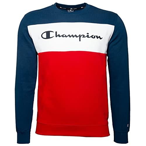 Champion - Felpa girocollo da uomo Blau (Dle)/Marciume (Htr)/Bianco (Wht) S