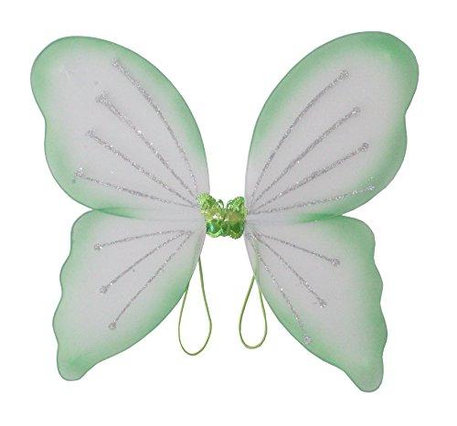 Elfenflügel, in 3 erhältlich, Karneval, Märchen, Elfe, zauberhaft, märchenhaft, verzaubernd, schön, Gummi zum Anziehen, traumhaft (Grün)